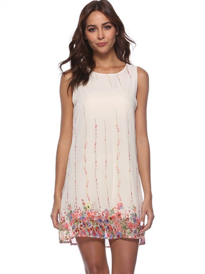 White Floral Loose Women's Day Dress