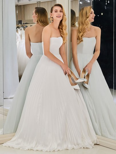 Strapless Pleats Beach Wedding Dress
