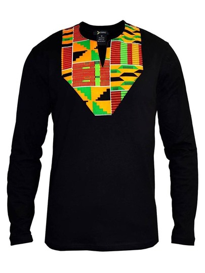 African Print Men's Long Sleeve Shirt