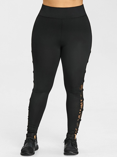 Lace-Up Side High Waist Skinny Women's Leggings