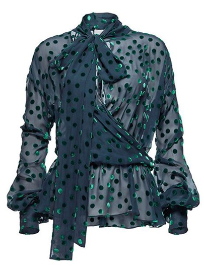 Sheer Polka Dot Bow Tie Neck Women's Blouse