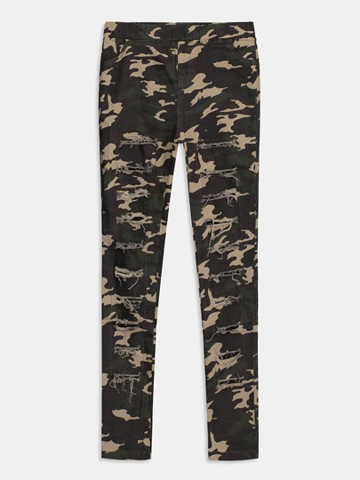 Camo Print Cut Out Drawstring Women's Pants