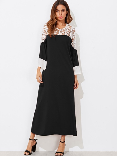 Long Sleeve Loose Patchwork Women's Maxi Dress