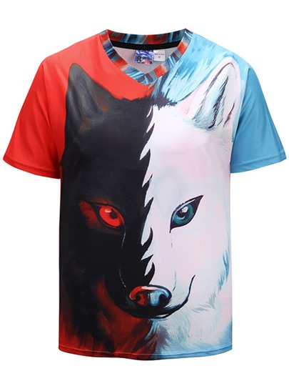 Wolf Print Patchwork Loose Men's T-Shirt