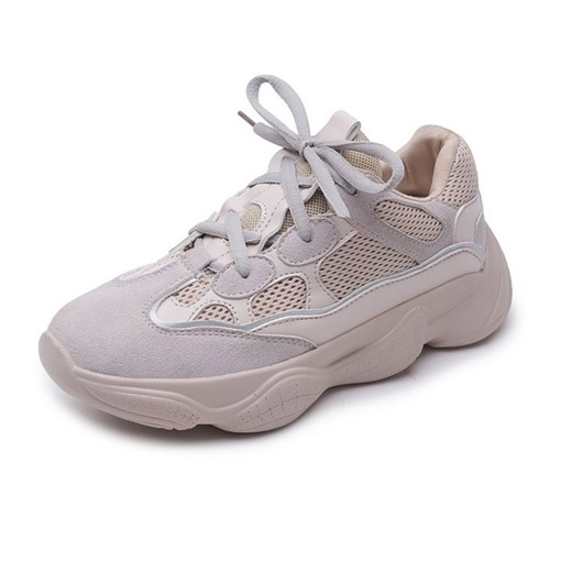 Microfiber Mesh Lace-Up Round Toe Chic Women's Sneaker