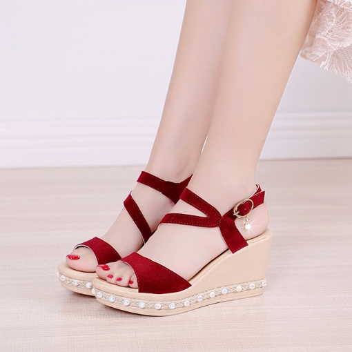 Strappy Suede Beads Wedge Heel Sandals for Women
