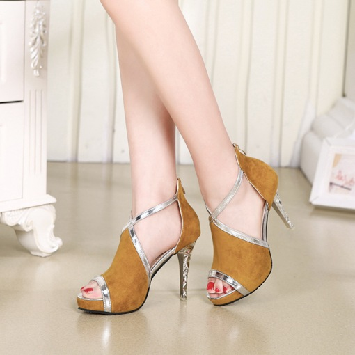 Mid-Cut Upper Stiletto Hgh Heel Zipper Sandals for Women