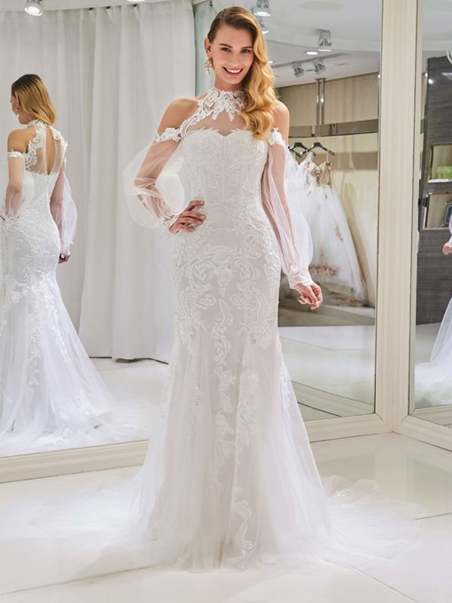 Appliques Long Sleeve Open Shoulder Wedding Dress