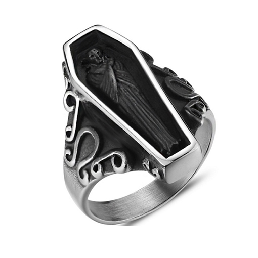 Polishing Coffin Shape Titanium Steel Gothic Ring