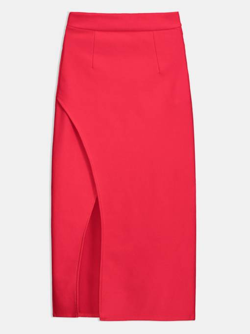Plain Bodycon Slit Women's Skirt