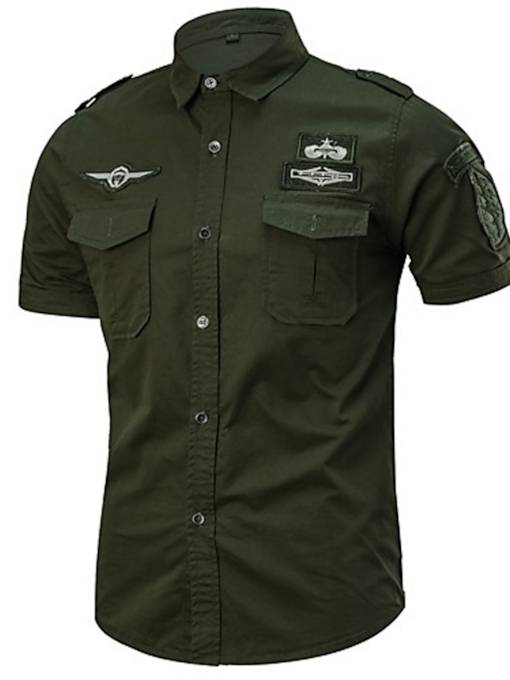 Solid Color Classic Collar Military Plus Size Cotton Men's Shirt