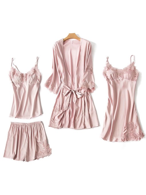Plain Silk Home Shorts Sleepwear Suit 4 Pieces