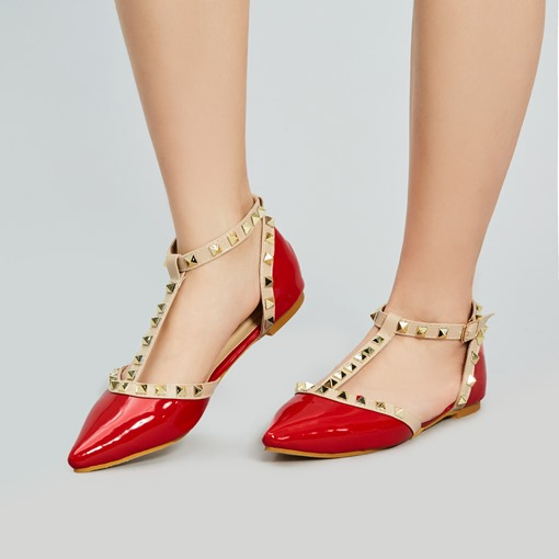 Rivets Pointed Toe T-shaped Women's Flats