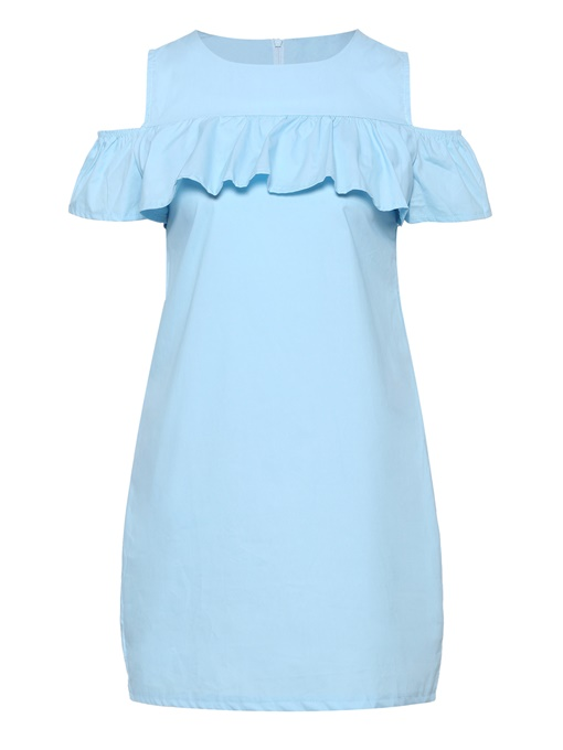 Slash Neck Pocket Ruffle Women's Day Dress