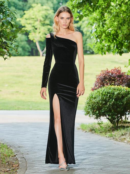 One Shoulder Velvet Sheath Split-Front Black Evening Dress