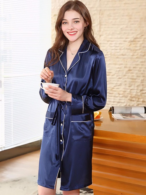 Casual Notched Lapel Pocket Night Dress