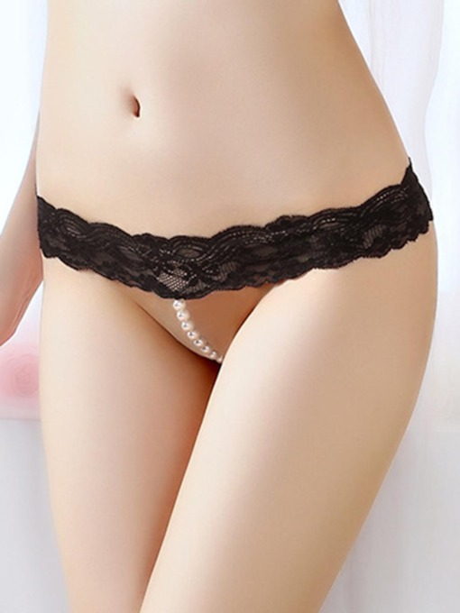 Lace Sexy G-string with Pearls Micro Thong