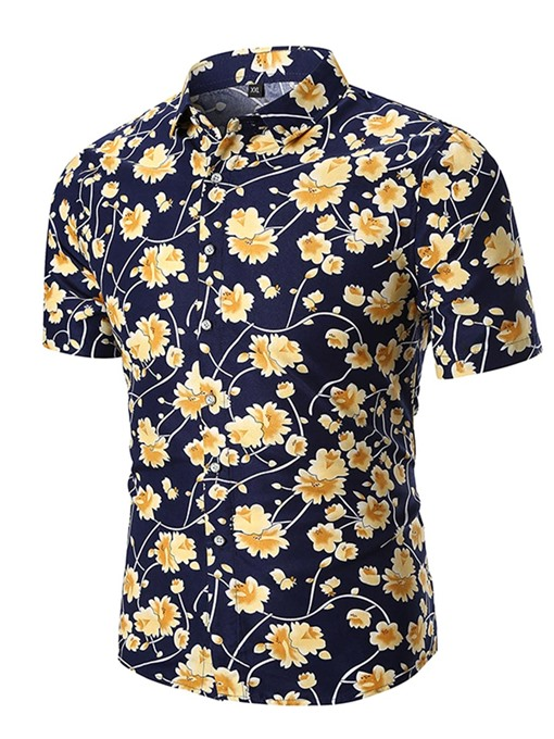 Flower Print Color Block Men's Short Sleeve Shirt