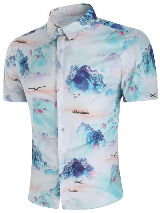 Landscape Painting Print Slim Men's Shirt