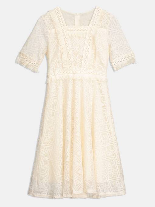 White Square Tassel Lace Day Dress