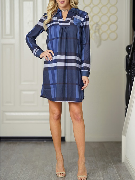Blue Plaid Women's Shirt Dress