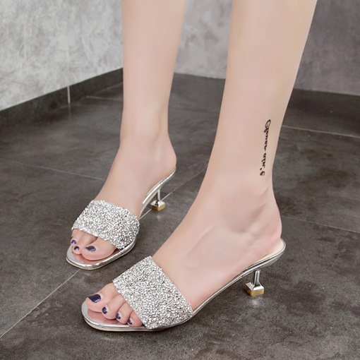 Sequin Spool Heel Plain Slip-On Slipper for Women