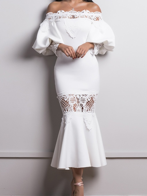 White Mermaid Slash Neck Off Shoulder Lace Dress