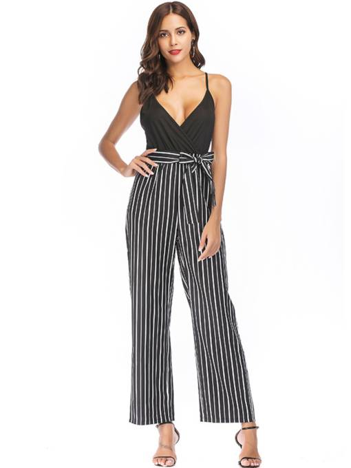 Stripe Backless Cami Women's Jumpsuit