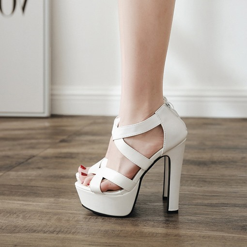 Peep Toe Chunky High Heel Zipper Sandals for Women