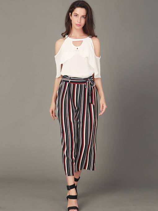 Off Shoulder Top and Pants Women's Two Piece Set
