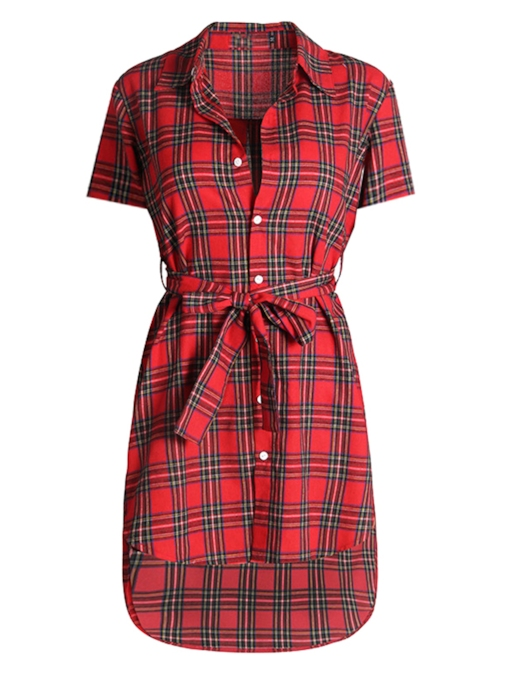 Plaid Short Sleeve Lace up Women's Shirt Dress