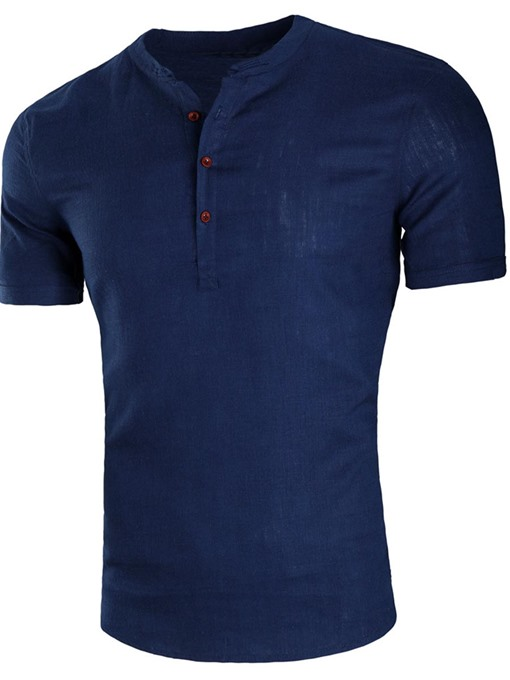 Cotton Linen Thin Slim Men's T-Shirt