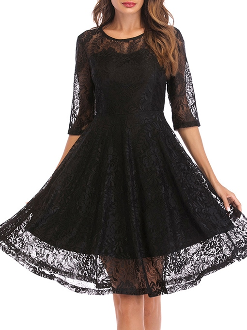 Tiered Half Sleeve Women's Lace Dress