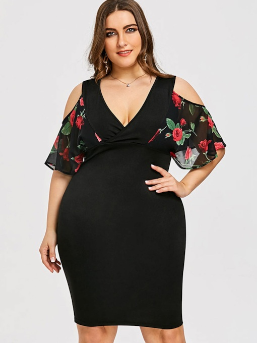 Plus Size Floral Prints Hollow Bodycon Dress