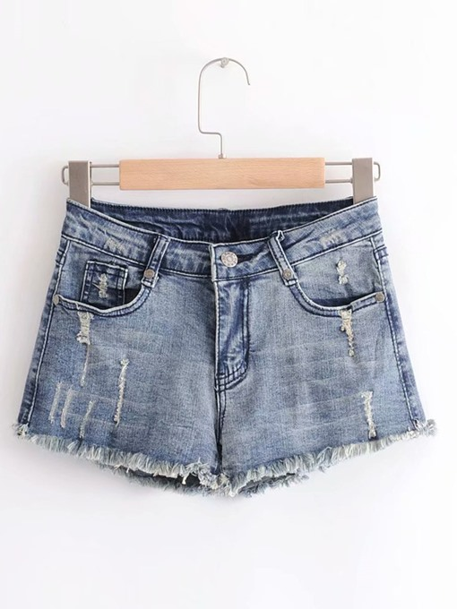 Denim Mid Waist Straight Women's Shorts