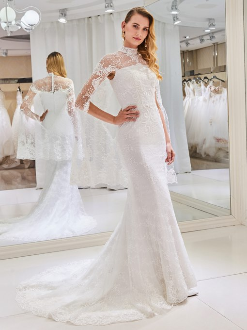 High Neck Mermaid Lace Wedding Dress with Shawl