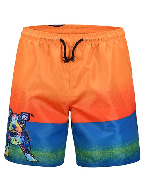 Dog Print Lace-up Loose Men's Beach Shorts