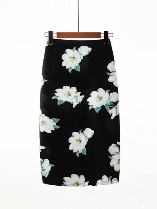 Flower Print Bodycon Women's Skirt