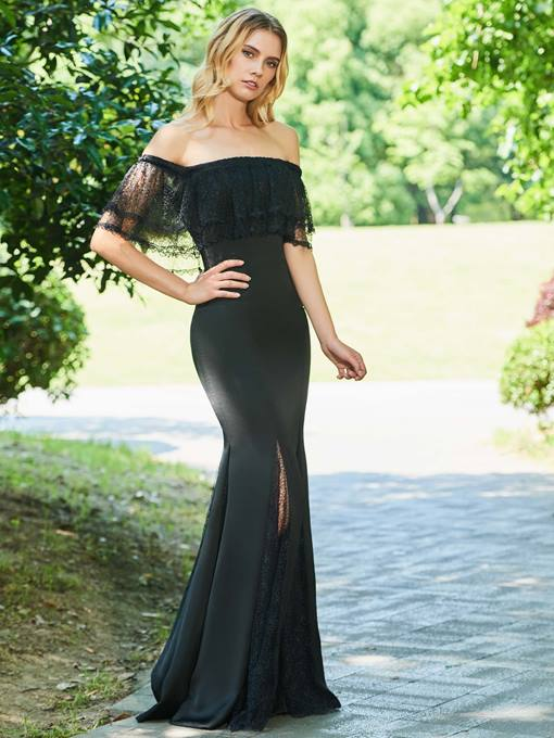 Off-the-Shoulder Lace Trumpet Long Evening Dress