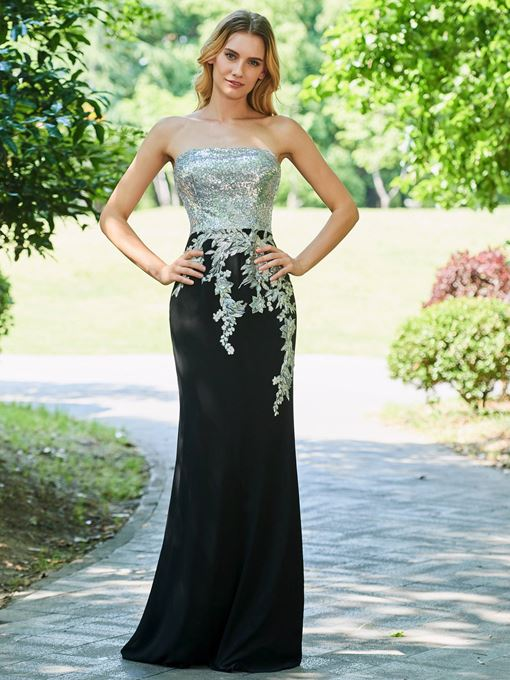 Sheath Strapless Appliques Sequins Evening Dress