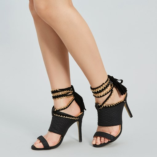 PU Sequins Black Heel Sandals