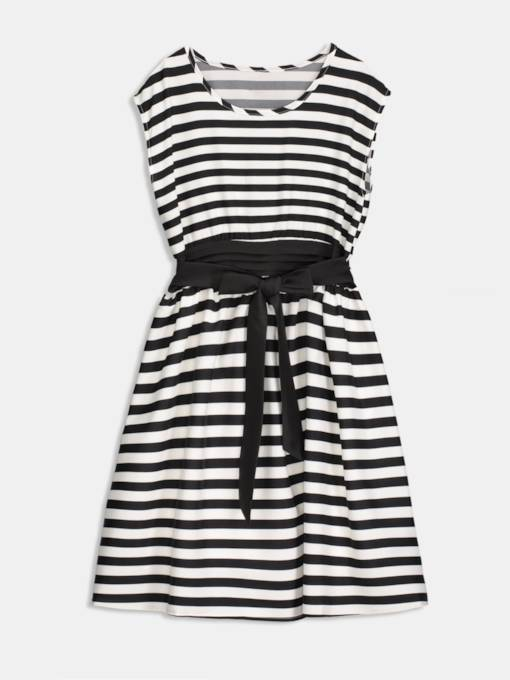 Black Striped A-Line Women's Day Dress