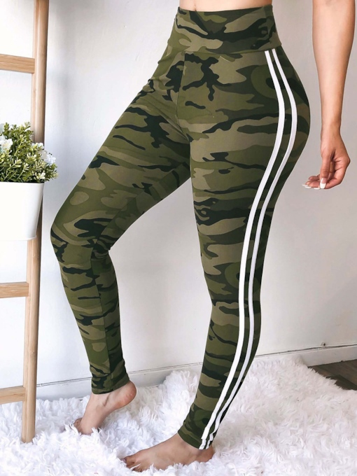 Camouflage Print Skinny High-Waist Women's Casual Pants