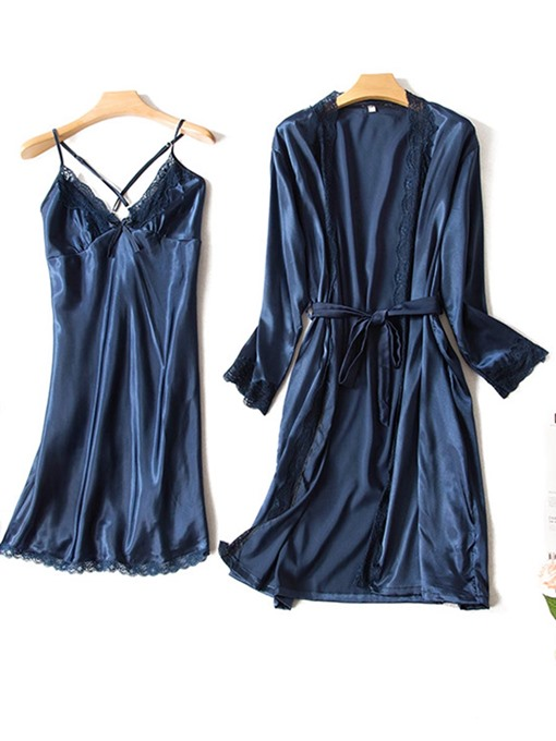 Backless Cross Strap Lace Robe and Nightgown 2 Pieces