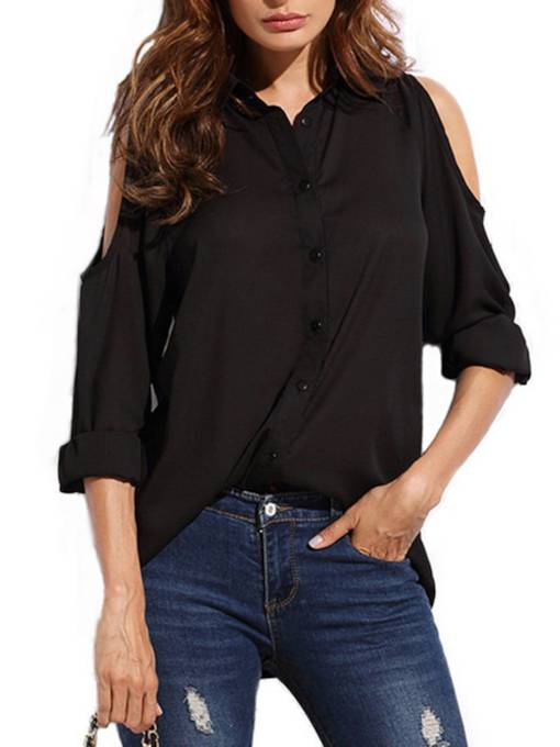 Cold Shoulder Single-Breasted Chiffon Women's Blouse