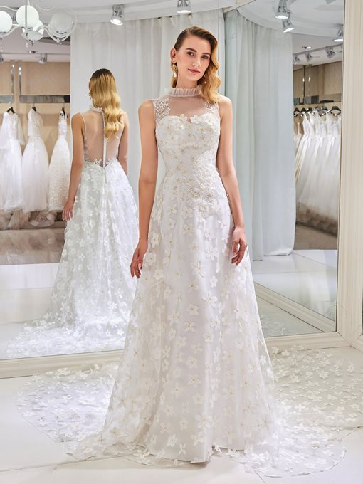 High Neck Appliques Lace Wedding Dress