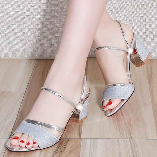 Open Toe Delicate Sequin Summer Sandals for Women