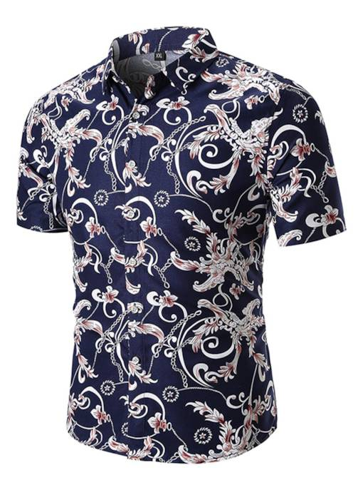 Lapel Floral Print Loose Men's Shirt