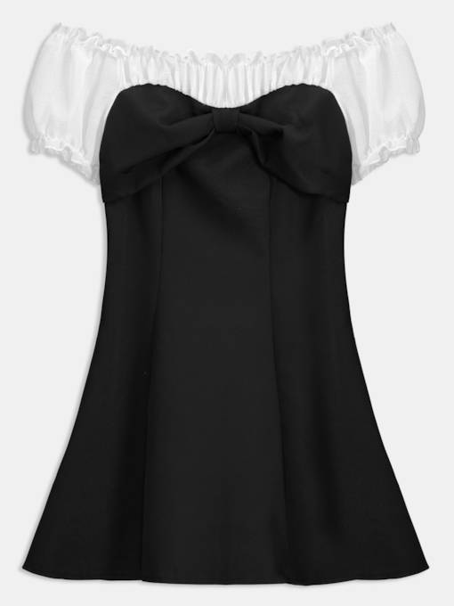 Slash Neck Ruffled Women's Day Dress