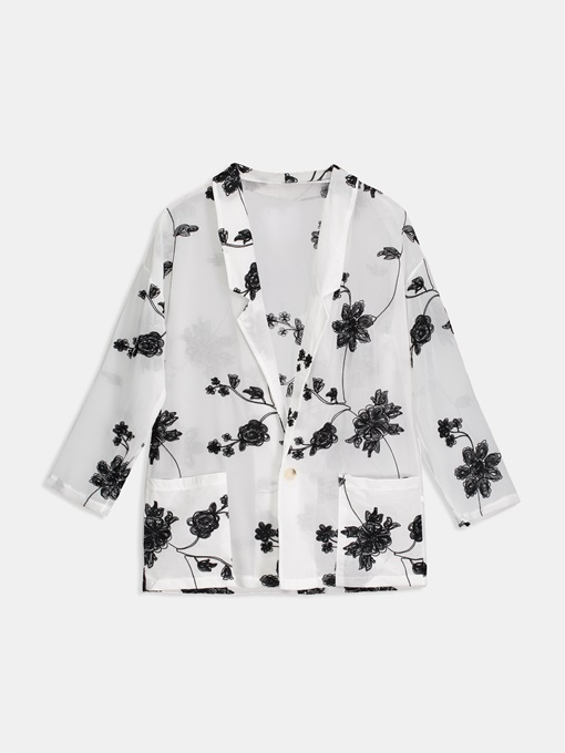 One Button Floral Pocket Lightweight Women's Blazer